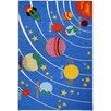 Rugnur Bambino Kids Fun Time Educational Galaxy Planets Stars Blue Area Rug