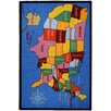 Rugnur Bambino Kids Fun Time Educational United States Map Cities Blue Area Rug