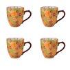 Grace's Tea Ware Dutch Wax 14 oz. Grace's Tea Ware Mug Set Green Yellow Floral 4 Piece Set (Set of 4)