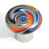 Grace White Glass Zig Zag Spiral Round Knob