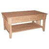 International Concepts Mission Coffee Table with Drawer