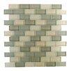 "Abolos Free Flow 1"" x 2"" Glass Mosaic Tile in Green/Beige"