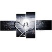 Design Art Love Birds in Love 4 Piece Graphic Art on Wrapped Canvas Set