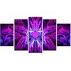 Design Art Heart at the Center Purple 5 Piece Graphic Art on Wrapped Canvas Set