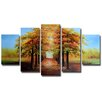 Design Art 'Warm Welcome' 4 Piece Original Painting on Wrapped Canvas Set