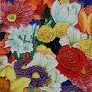 Continental Art Center Multi Flowers Tile Wall Decor