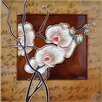 Continental Art Center White Orchid With A Light Brown Frame Tile Wall Decor
