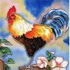 Continental Art Center Blue Tail Rooster Tile Wall Decor