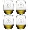 Nautical Badge 4 Piece Wine Glass Set