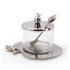 Classic Touch Rosh Hashanah Hammered Stainless Steel Honey Dish with Spoon
