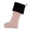 Brite Ideas Living Stripe Auden Fur Band Christmas Stocking with Tab