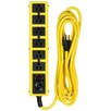 "Coleman Cable 180"" 6 Outlet Yellow Metal Surge Protector Strip"