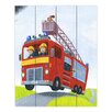 DiaNoche Designs Fire Truck by Gabriel Cunnett Painting Print on Wood Planks