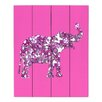 DiaNoche Designs Elephant II Ribbons by Susie Kunzelman Graphic Art on Wood Planks in Pink