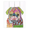 DiaNoche Designs Pug Dog by Marley Ungaro Painting Print on Wood Planks in White