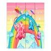 DiaNoche Designs Rainbow Elephants by Tooshtoosh Painting Print on Wood Planks