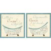"""Star Creations """"Blue Bath Time"""" by SD Graphics Studio 2 Piece Graphic Print on Wrapped Canvas Set"""