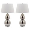 """Safavieh Jill Double Gourd 25.5"""" H Table Lamp with Empire Shade (Set of 2)"""