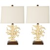 """Safavieh Coral 21"""" H Table Lamp with Drum Shade (Set of 2)"""