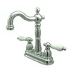 Elements of Design Heritage Double Handle Centerset Bar Faucet with Porcelain Lever Handles