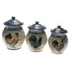 Certified International Lille Rooster by Geoffrey Allen 3 Piece Canister Set