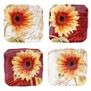 "Certified International Paris Sunflower 6"" Canape Plate 4 Piece Set"