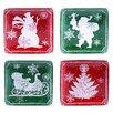 Certified International Chalkboard Christmas Canape Plate (Set of 4)