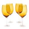 Certified International Glass Stemware Dark Amber White Wine Glasses (Set of 4)