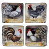 "Certified International Vintage Rooster 8.25"" 4 Piece Dinner Plate Set"