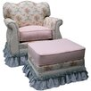Angel Song Blossoms and Bows Adult Empire Glider Rocker and Ottoman