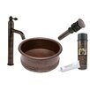 Premier Copper Products Round Vessel Tub Sink with Single Handle Faucet and Drain
