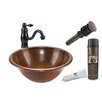 Premier Copper Products Round Self Rimming Sink with Single Handle Faucet and Drain