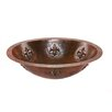 Premier Copper Products Oval Fleur De Lis Undermount Hammered Copper Sink