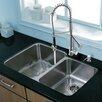 """Vigo Platinum 32"""" x 20.75"""" Undermount Stainless Steel Kitchen Sink with Faucet"""