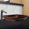 Vigo Rectangular Fusion Glass Vessel Bathroom Sink and Linus Faucet Set