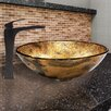 Vigo Copper Shapes Glass Vessel Bathroom Sink and Blackstonian Faucet Set