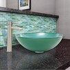 Vigo Whispering Wind Glass Vessel Bathroom Sink and Shadow Faucet Set