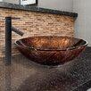 Vigo Kenyan Twilight Glass Vessel Bathroom Sink and Dior Faucet Set