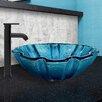 Vigo Mediterranean Seashell Glass Vessel Bathroom Sink and Seville Faucet Set