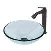 Vigo Sheer Sepia Glass Vessel Bathroom Sink and Linus Faucet Set