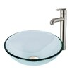 Vigo Sheer Sepia Glass Vessel Bathroom Sink and Seville Faucet Set