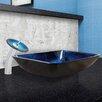 Vigo Rectangular Water Glass Vessel Sink and Waterfall Faucet Set