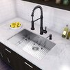"Vigo 30"" x 19"" Undermount 16 Gauge Single Bowl Kitchen Sink and Edison Pull-Down Spray Kitchen Faucet (Set of 4)"