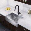 "Vigo Farmhouse 30"" x 22.25"" 16 Gauge Single Bowl Kitchen Sink and Pull-Down Kitchen Faucet (Set of 4)"