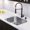 "Vigo 30"" x 18"" Undermount 18 Gauge Single Bowl Kitchen Sink and Edison Pull-Down Spray Kitchen Faucet (Set of 4)"