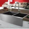"""Vigo 33"""" x 22.25"""" Double Bowl Farmhouse Kitchen Sink"""