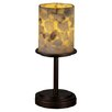 "Justice Design Group Alabaster Rocks Dakota Portable 12"" H Table Lamp with Drum Shade"