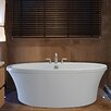 """Reliance Whirlpools Center Drain Freestanding 66"""" x 36.75"""" Soaking Tub with Deck for Faucet"""
