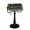 "Meyda Tiffany Vineyard Banker's 15"" H Table Lamp with Rectangular Shade"