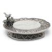 Star Home Trellis Pedestal Server Chip and Dip Tray with Stone Insert
